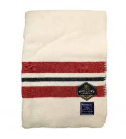 Woodlife Ranch Wool Throw (Cream with Red Stripe)