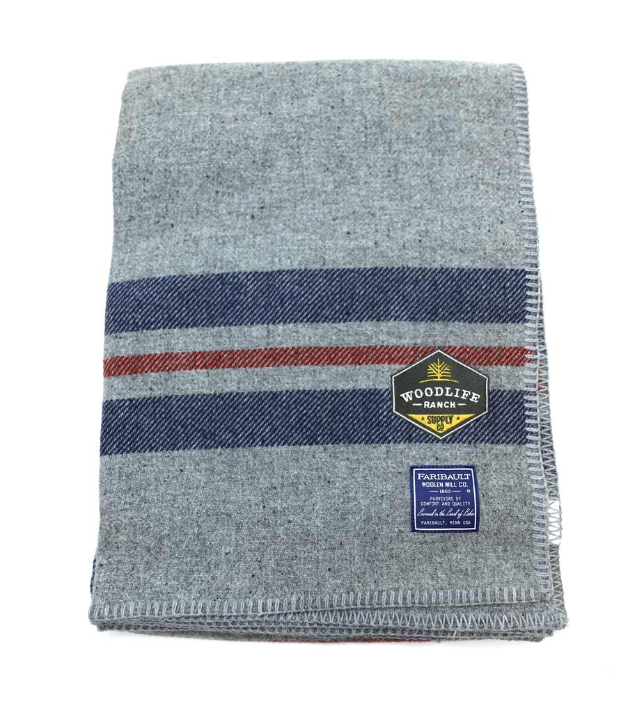 Woodlife Ranch Wool Throw (Gray with Blue Stripe)