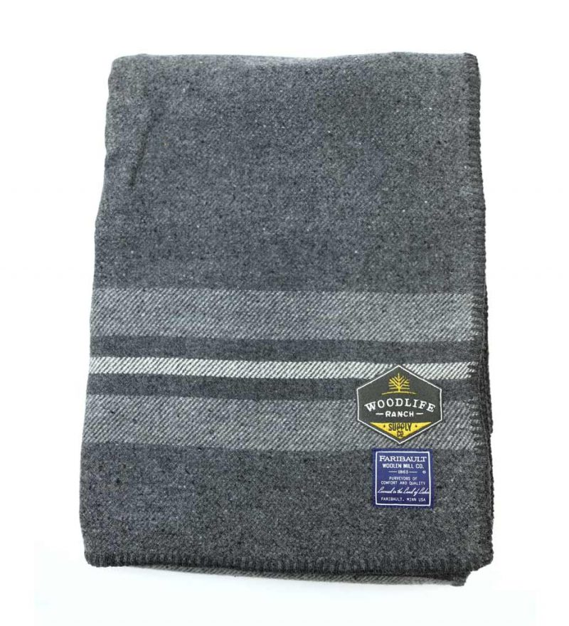 Woodlife Ranch Wool Throw (Gray with Gray Stripe)