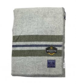Woodlife Ranch Wool Throw (Gray with Green Stripe)