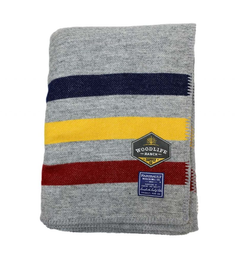 Woodlife Ranch Wool Throw (Gray with Yellow Stripe)