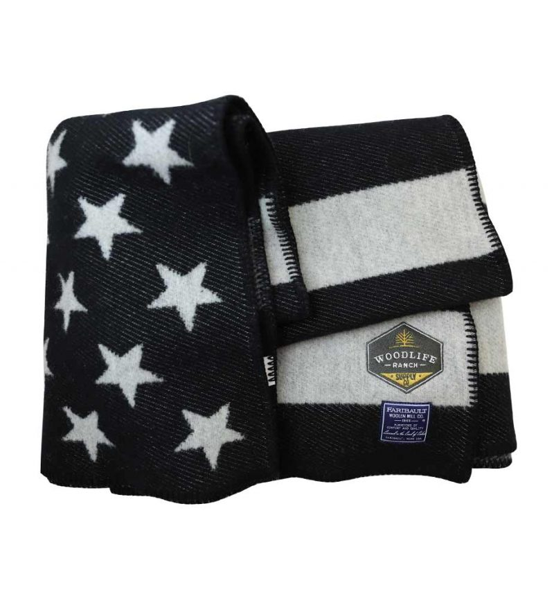 Woodlife Ranch Wool Throw (Black & Gray American Flag)