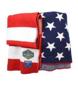 Woodlife Ranch Wool Throw (Red, White & Blue American Flag)
