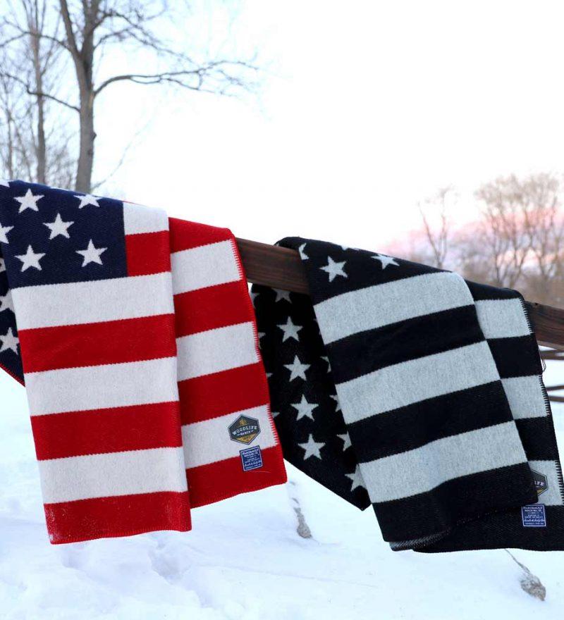 Woodlife Ranch Wool Throw American Flag